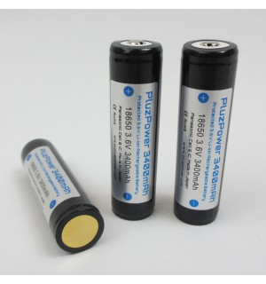 PluzPower Protected 3400mAh 3.7V 18650 Li-ion Battery (Button Top)