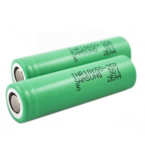 Samsung INR18650-25R 2500mAh 3.7v 18650 IMR High Drain 20A/35A Battery (Flat Top)