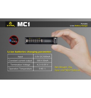XTAR MC1 Single Bay Li-ion IMR USB Battery Charger