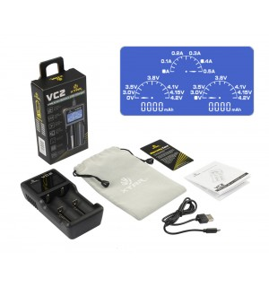 XTAR VC2 Dual Bay Li-ion IMR USB Battery Charger & Capacity Tester