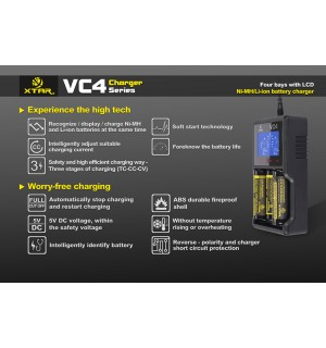 XTAR VC4 Quad Bay Li-ion IMR Ni-MH Battery Charger & Capacity Tester