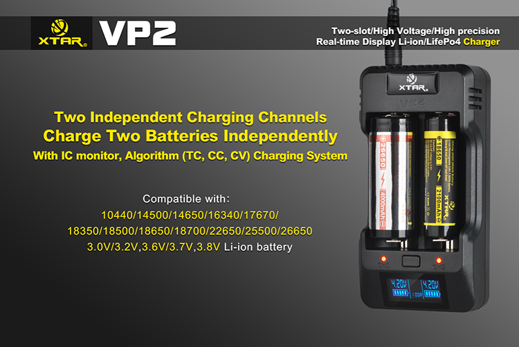Xtar VP2 Multi Voltage Battery Charger